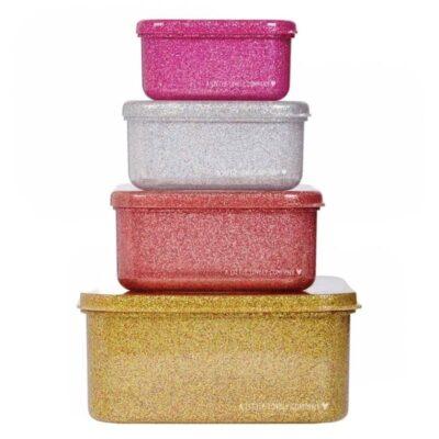 4 Lśniące Lunchboxy śniadaniówki GOLD BLUSH | A little lovely company