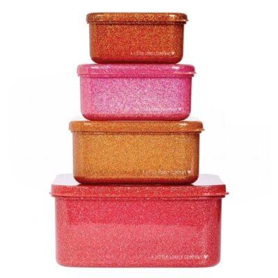4 Lśniące Lunchboxy śniadaniówki PINK | A little lovely company