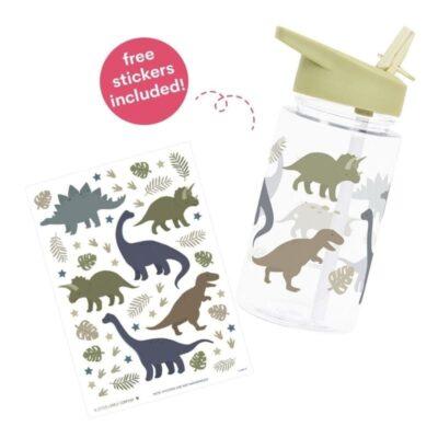 Bidon transparentny ze składanym ustnikiem Dinozaury z naklejkami | A little lovely company